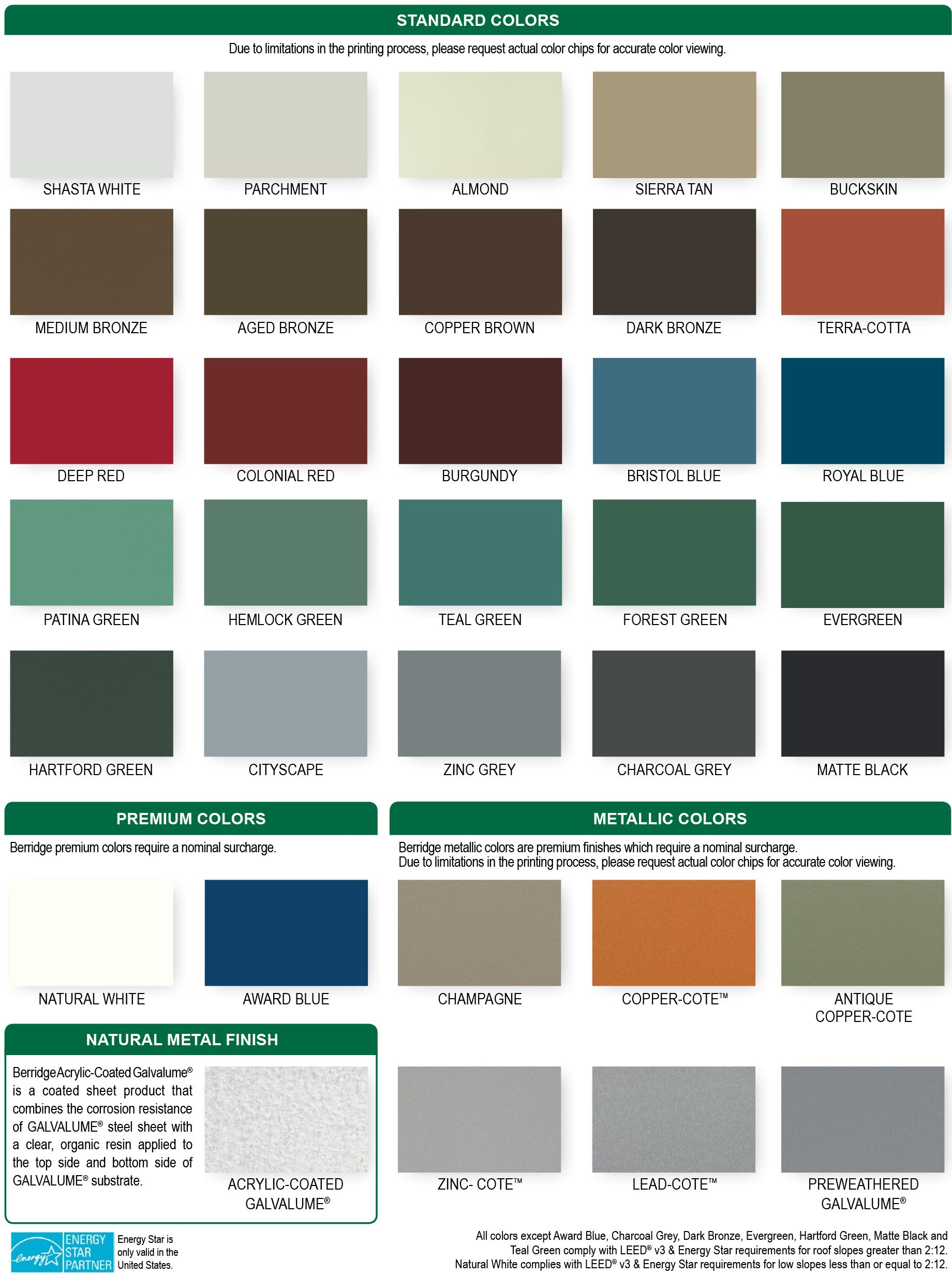 Berridge Metal Panels Color Chart Metal Roof Colors Roof Colors Galvalume Roof