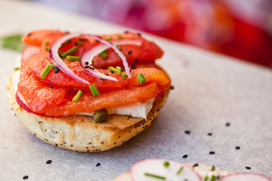 Photo of Vegan NY Style Bagels with Tomato Lox and Cashew Cream Cheese