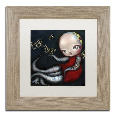 """Trademark Art 'Jinxi' by Abril Andrade Framed Graphic Art Size: 11"""" H x 11"""" W x 0.5"""" D, Matte Color: White"""