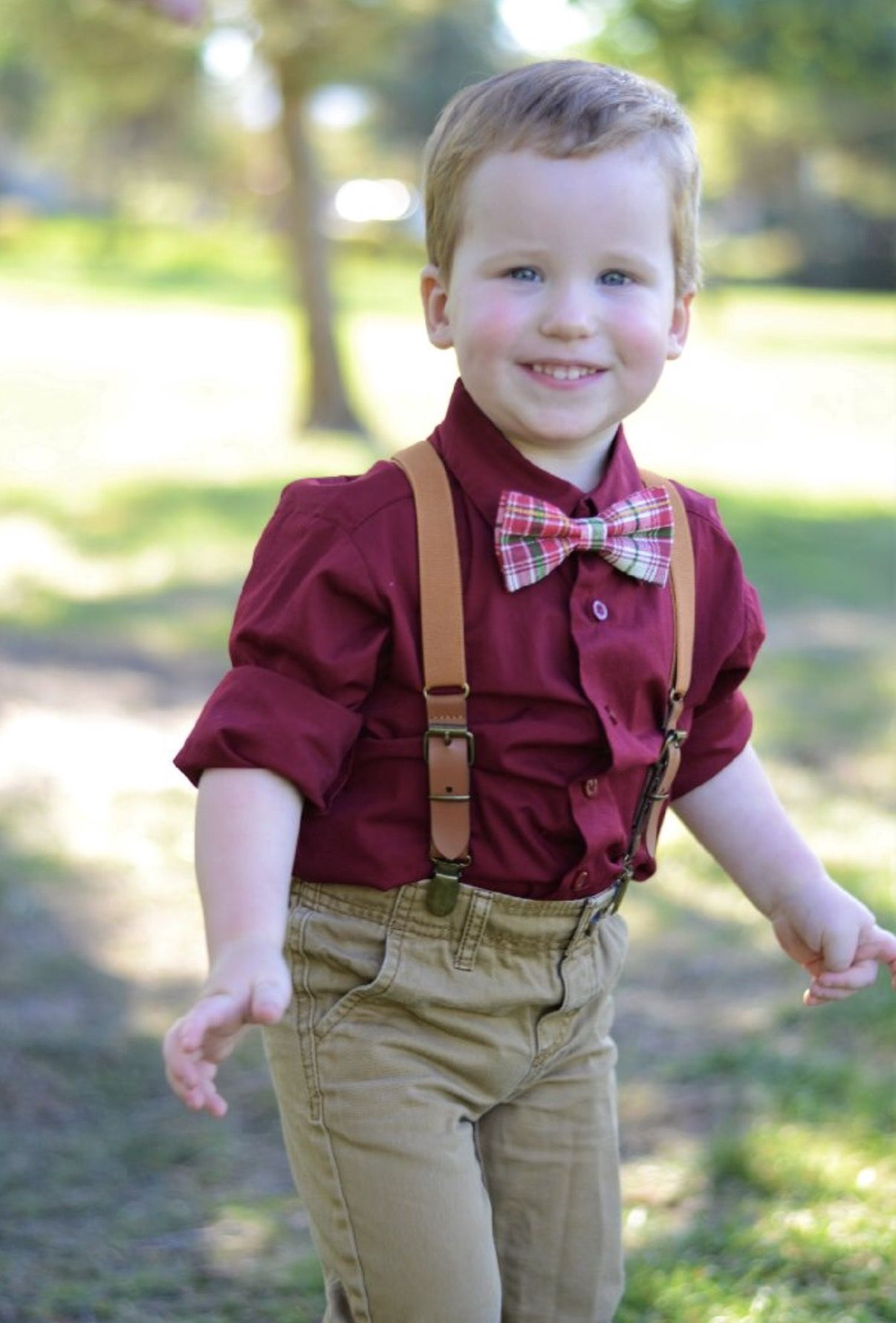 Leather Suspenders Ring Bearer Outfit Boys Wedding