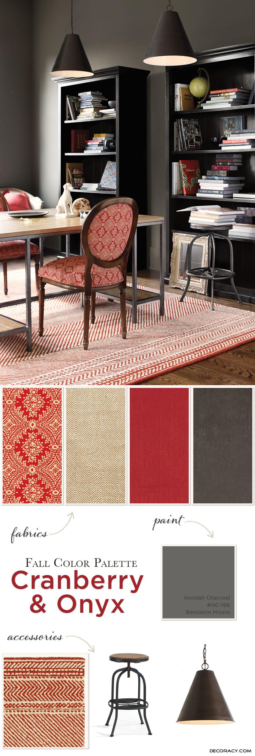 Fall Color Palette: Cranberry & Onyx - http://www.decoracy.com ...
