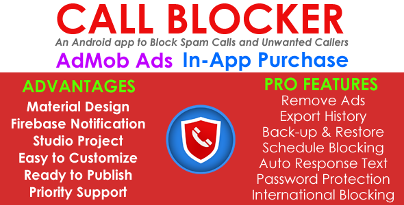 Call Blocker - AdMob - In App Purchases - Android App - Easy