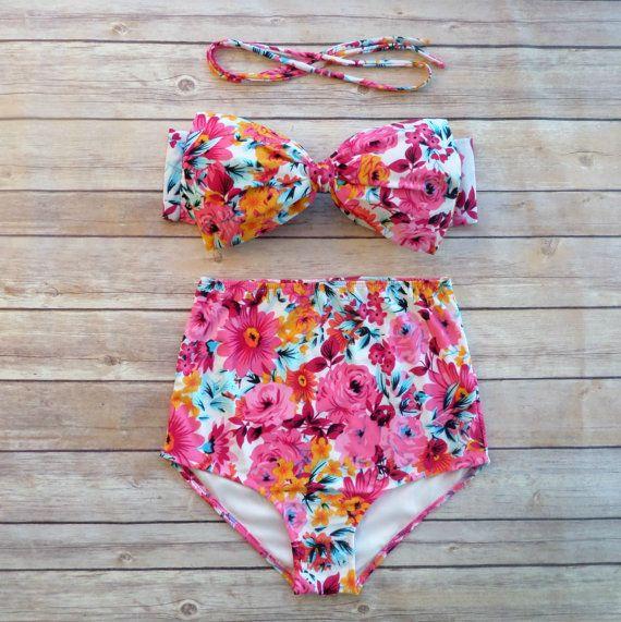 8dd91e2704 Bow Bandeau Bikini - Vintage Style High Waisted Pin-up Swimwear - Beautiful  Pink White and Orange Floral Print - Unique & So Cute!