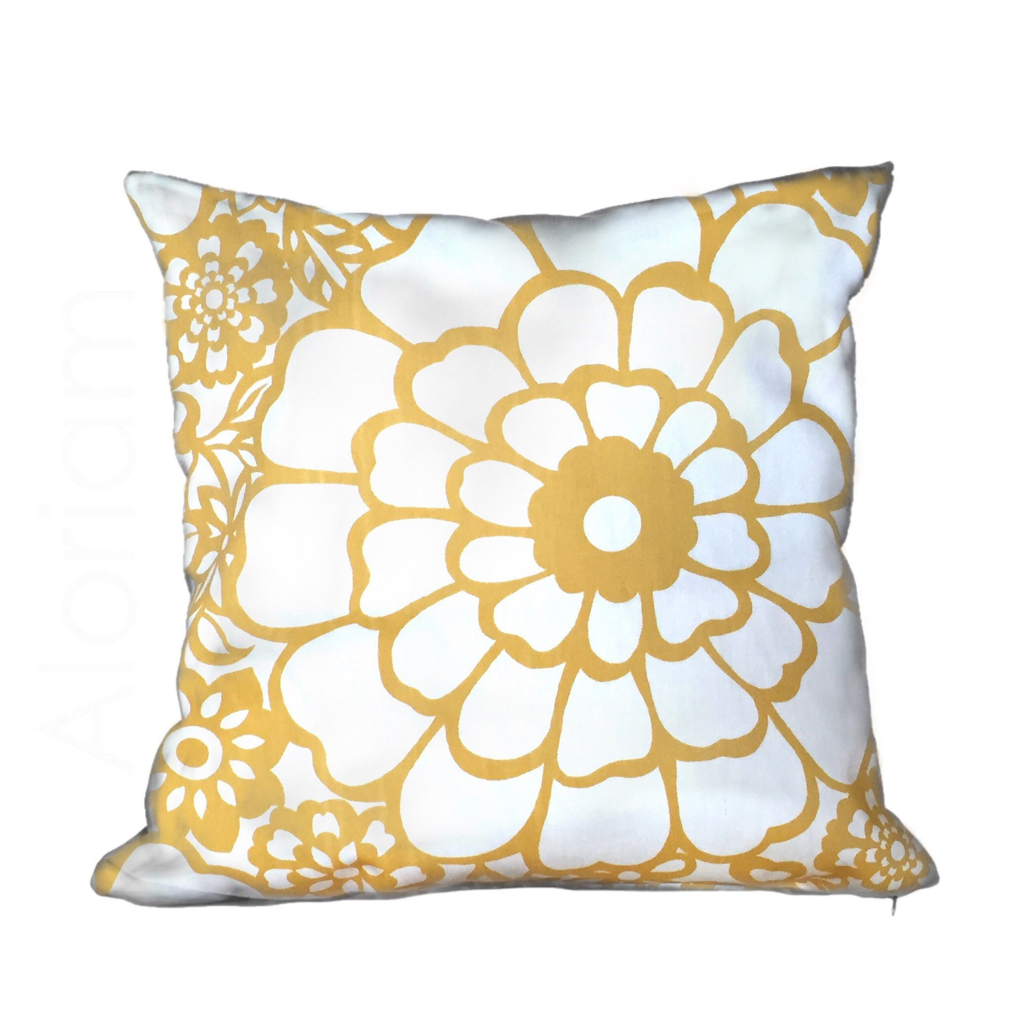 Thomas paul seedlings fiesta yellow white floral pillow cover