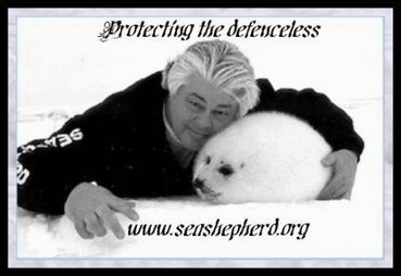 Captain Paul Watson of the Sea Shepherd Conservation Society.  Brave, brave, brave.  Love him.