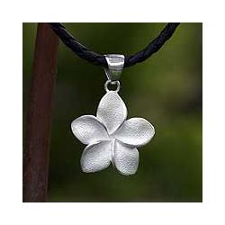 Handmade Solid Silver Frangipani Flower Necklace