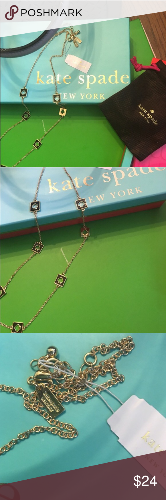 """NWT Kate Spade """"Hole Punch"""" Long Necklace MAKES A GREAT GIFT AT THIS PRICE POINT!  New with Tags &  Approximately 30"""" in length. This listing is for the gold tone with black spades but please see my closet for the same necklace in yellow, bright pink, red, and white. Matching earrings will be listed for most colors. Will bundle the 2 pieces at a special price. The greatest thing about this authentic Kate Spade piece is that it can be be reversed and worn as all gold.  Retail price is $68…"""