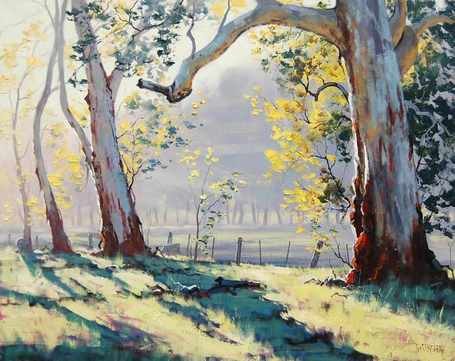 Australian Gum Trees Painting by artsaus Oil painting