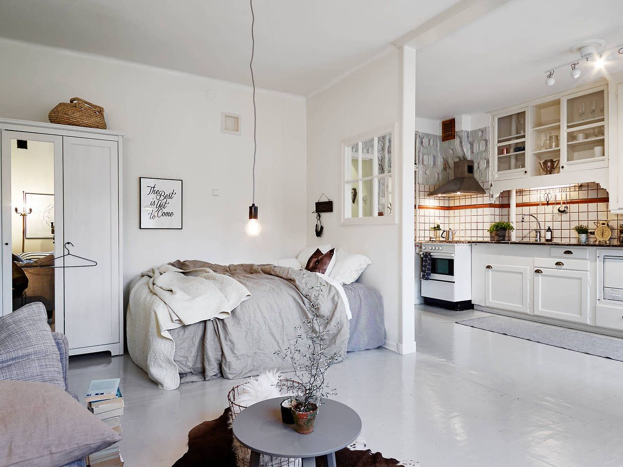 Studio Apartment Decorating Vintage full studio apartment here - modern vintage interior | bed