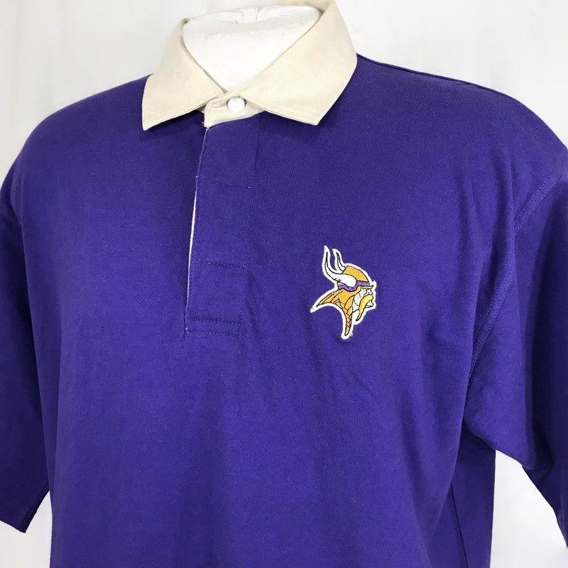 3ced4b0a30f Minnesota Vikings NFL Men Polo Shirt Size Large Cotton Purple Short Sleeve  Thick  NFL  ShirtsTops  MinnesotaVikings