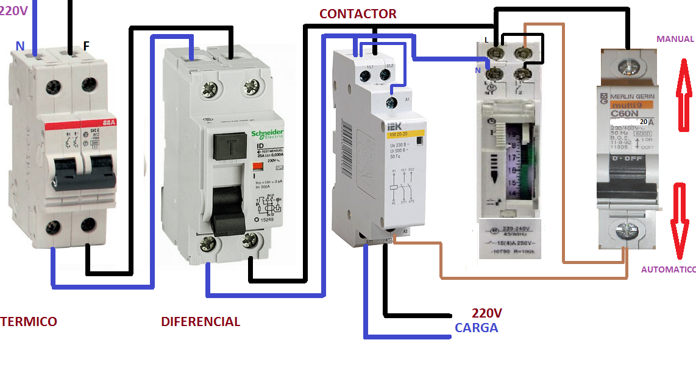 Esquema De Contactor Reloj Horario Mas Manual Automatico Esquemas Electricos Instalación Electrica Diagrama De Instalacion Electrica