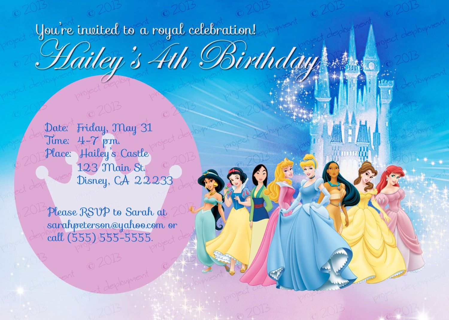 Custom Personalized Disney Princess Birthday Invitation 800 – Personalized Disney Birthday Invitations