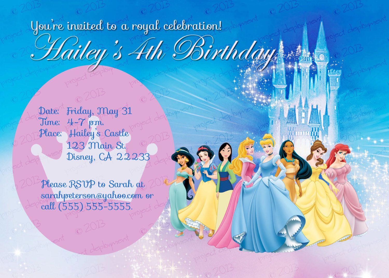 Custom Personalized Disney Princess Birthday Invitation. $8.00, via ...