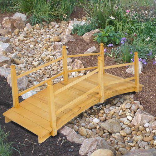 Wooden Bridge 5' Natural Finish Decorative Solid Wood