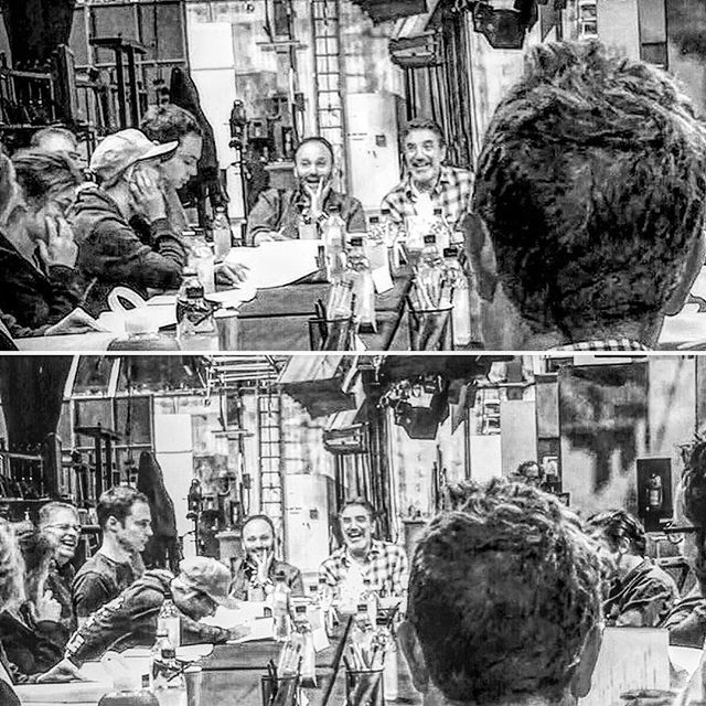 Amazing photo courtesy of @a.ayers10 (u should follow her... She's our awesome BBT backstage photo spy ) this was taken today during our season 9 table read.. Lots of laughter