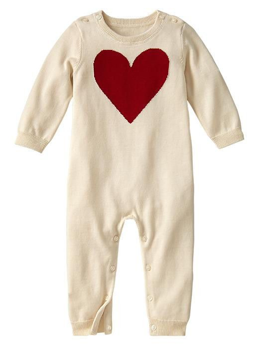 91db9ac59810 Baby Gap NWT Ivory Red Heart Sweater Romper 0 3  BabyGap  Everyday ...
