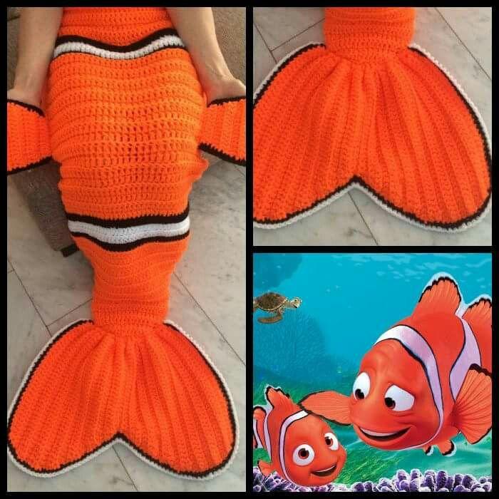 Nemo fin blanket -no pattern | crianças | Pinterest | Puppen und ...