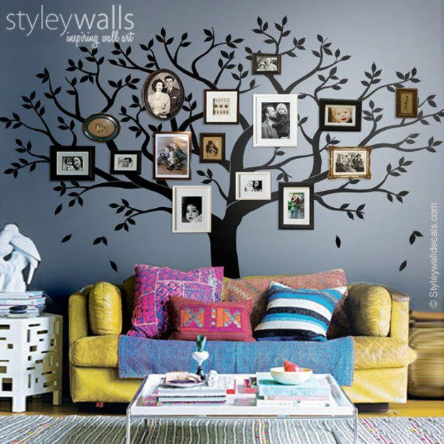 zeigen sie fotos ihrer lieben mit dem family tree wandtattoo sie k nnen gerahmte fotos rund um. Black Bedroom Furniture Sets. Home Design Ideas