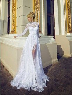 Princess High Neck Brush Train Lace Wedding Dress