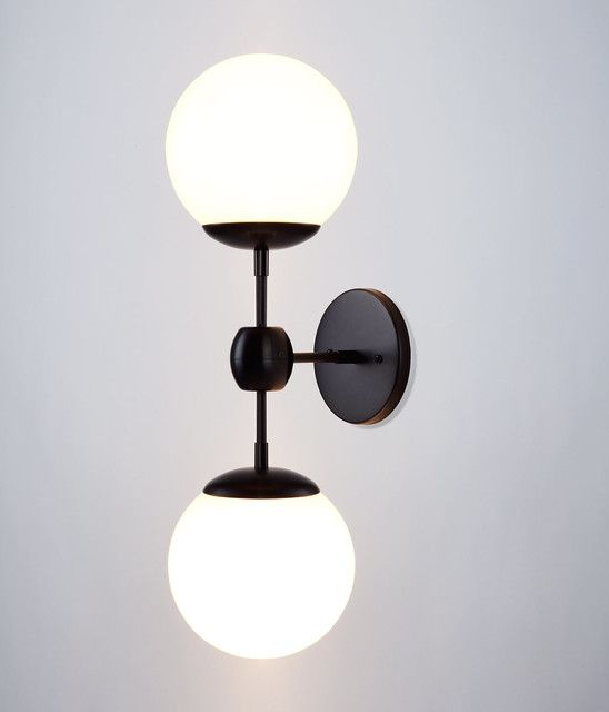 Wall Sconce Ideas:Double White Globe Wall Sconce Stained Black Bronze  Holders Modo Bulbs Bedroom