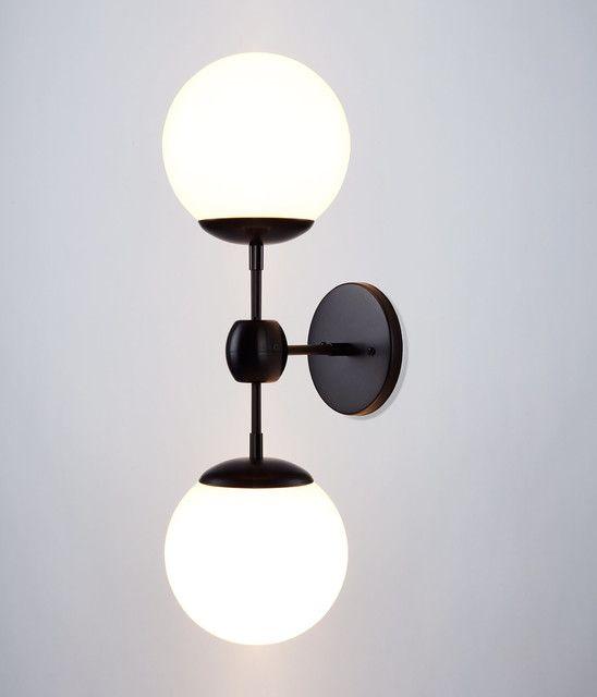 globe wall sconce black wall sconce ideasdouble white globe stained black bronze holders modo bulbs bedroom lamp sconces ideas modern pinterest sconces