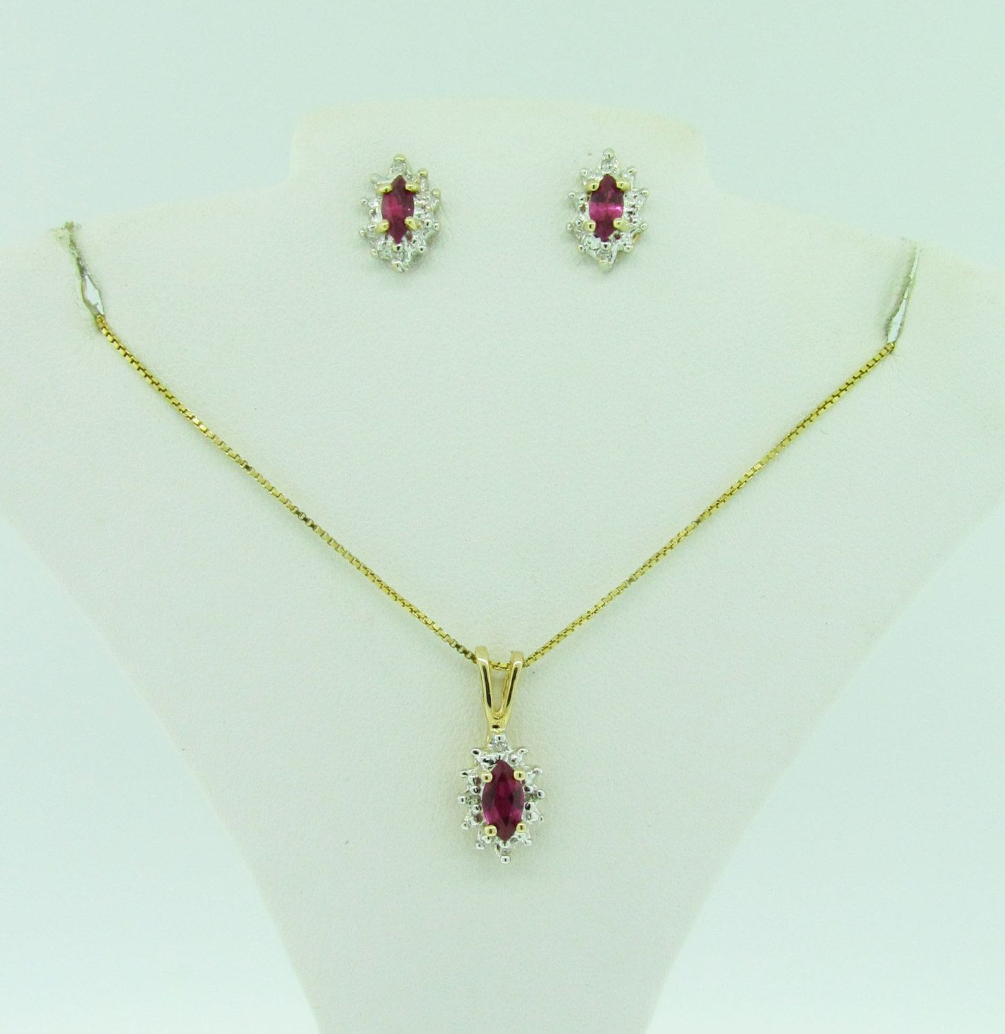 Vintage k gold diamond and artificial ruby pendant and earrings