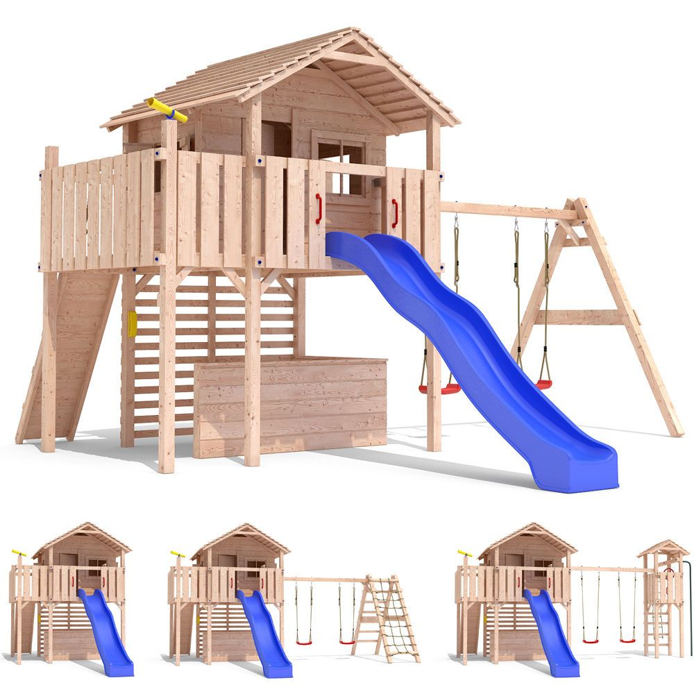 details zu maximo spielturm baumhaus stelzenhaus schaukel kletterturm rutsche holz kletterturm. Black Bedroom Furniture Sets. Home Design Ideas
