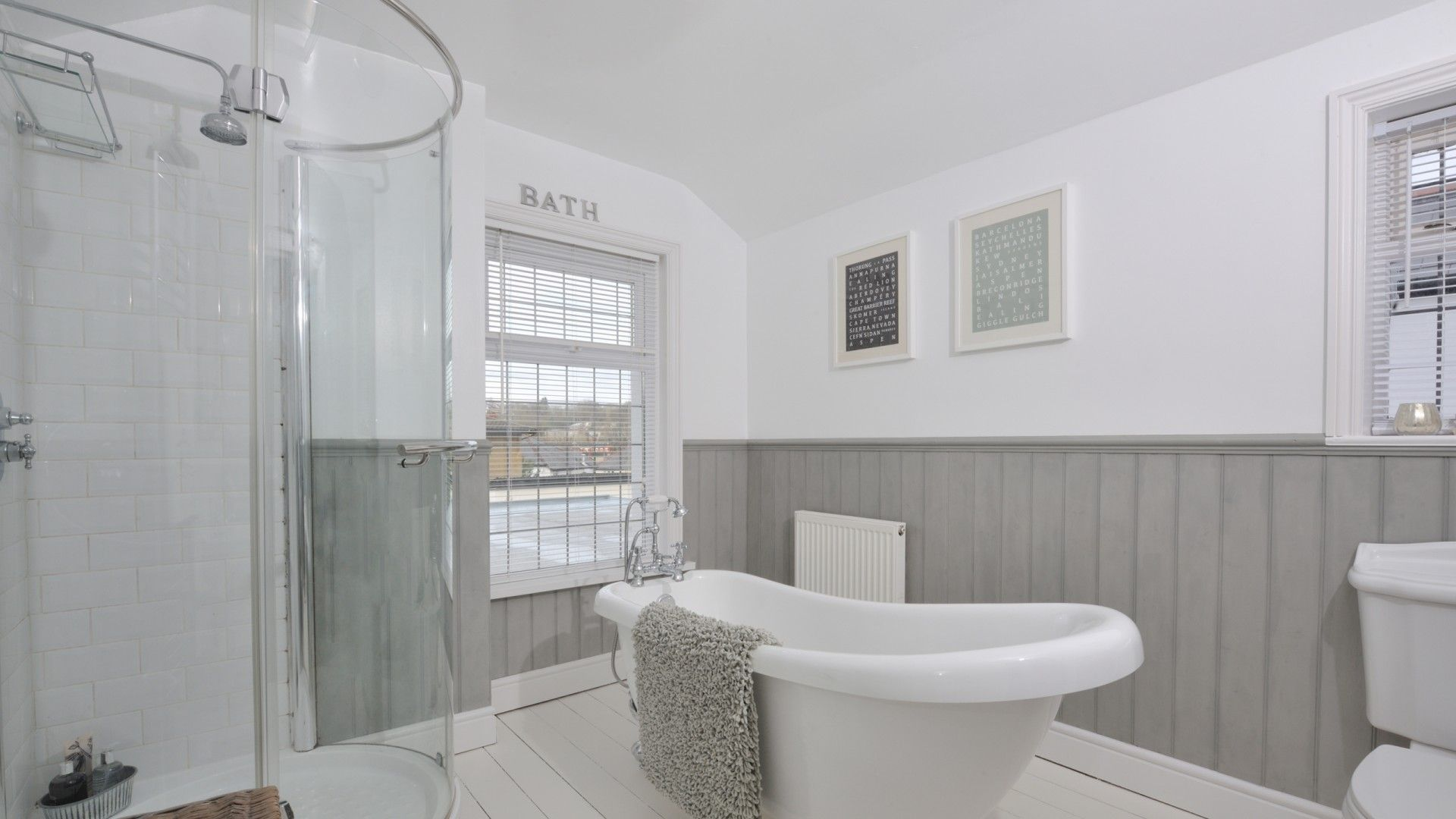 White and Grey Bathroom with Freestanding Bath and Shower Unit ...