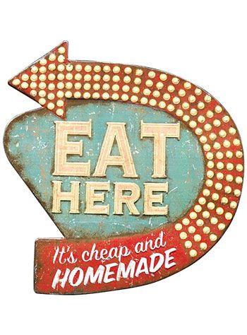 Retro Diner Kitsch Kitchen Wall Art by Creative Co-Op | Wall Art | PLASTICLAND  sc 1 st  Pinterest & Retro Diner Kitsch Kitchen Wall Art by Creative Co-Op | Wall Art ...