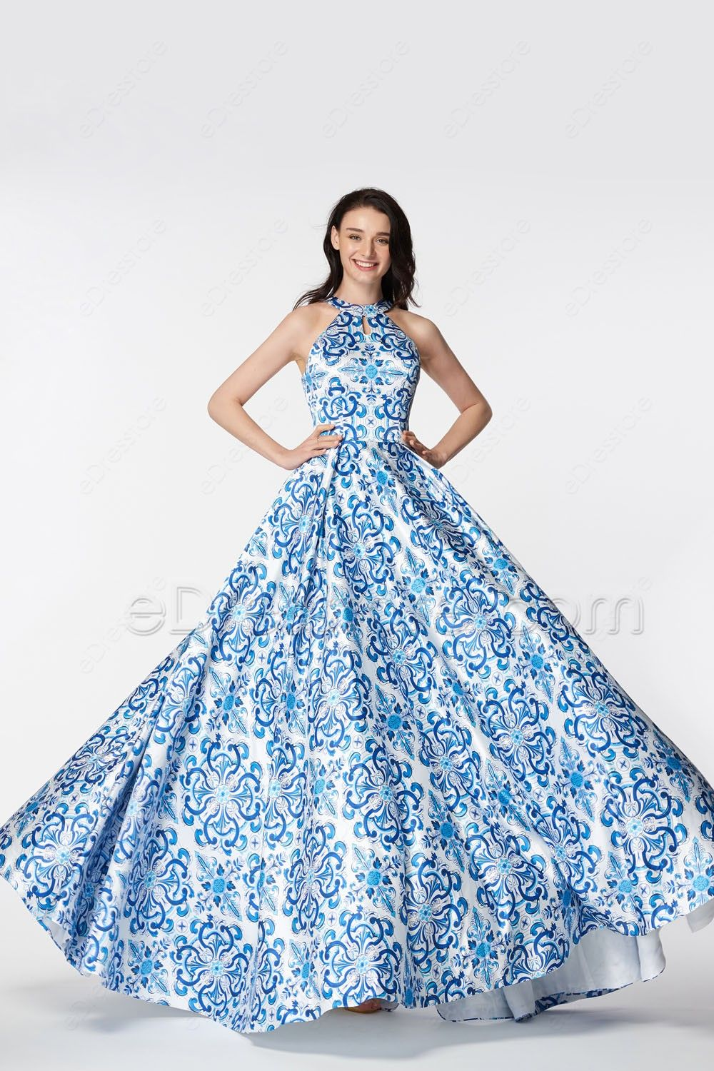 Blue Backless Print Ball Gown Prom Dresses | Ball gowns, Ball ...
