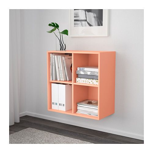 EKET Cabinet with 4 compartments, light orange Wall storage - reglage porte placard ikea