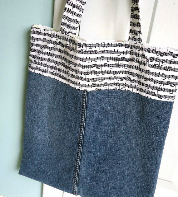 Music lesson bag, Piano Teacher gift in Denim and music notes, Sustainable tote bag for school, work, books, lunch, for kids, moms, teachers