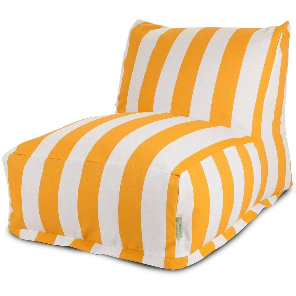 Majestic Home Goods Vertical Stripe Bean Bag Lounger Chair Yellow Size Large Polyester Blend
