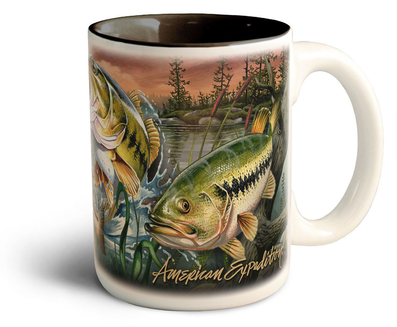 Large Coffee Mug Sets Largemouth Bass Stoneware Collage Coffee Mug American