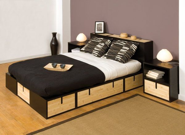 Cama Doble Moderna Madera Cajones 9346 5542907 Jpg 600 437 Bed Small Apartment Furniture Bed With Drawers