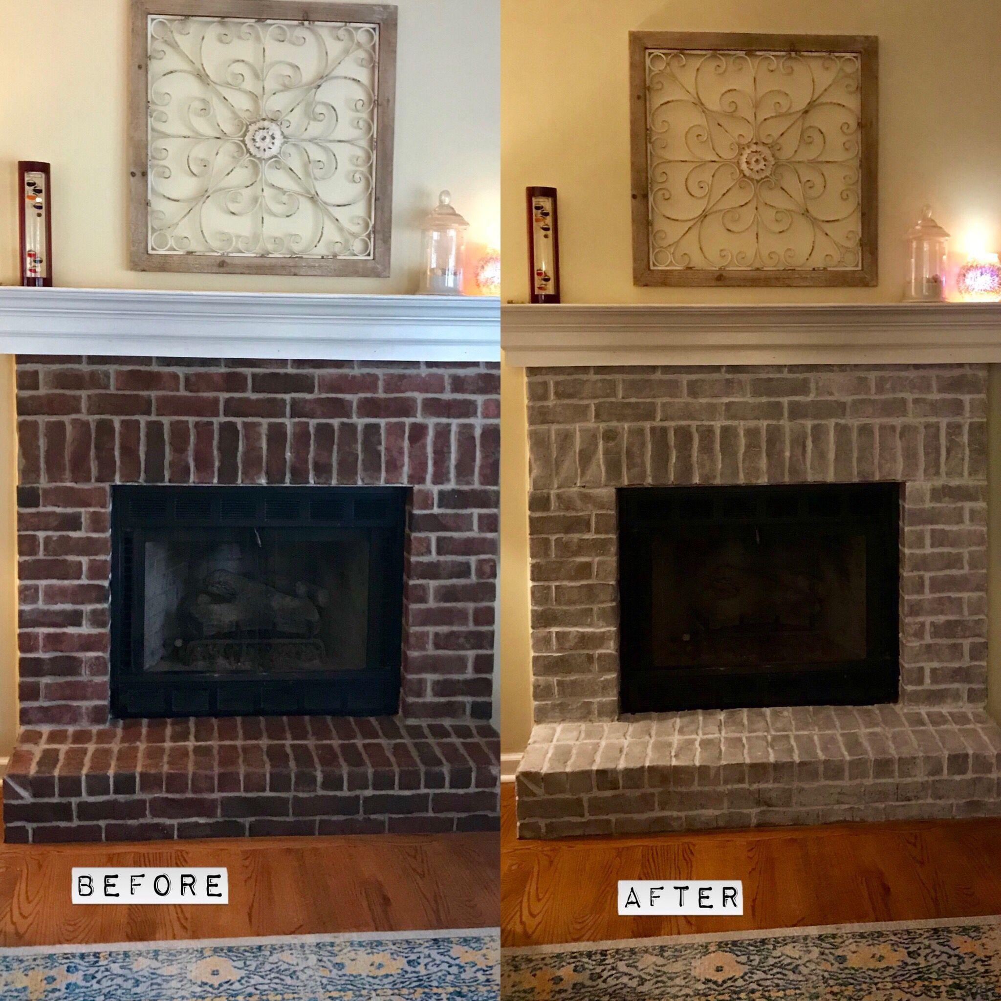 Whitewashed brick fireplace ElectricFireplace Electric Fireplace