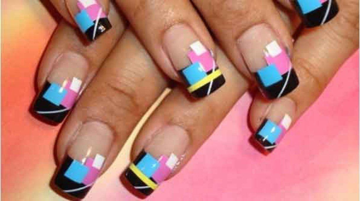 1980s Geometric Nails Block It Airbrush Nails Airbrush Nail Art Stylish Nails Art
