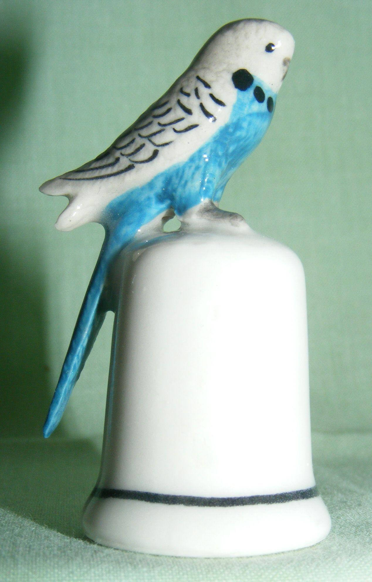 animal Thimble   click to enlarge klima porcelain budgerigar on thimble this thimble
