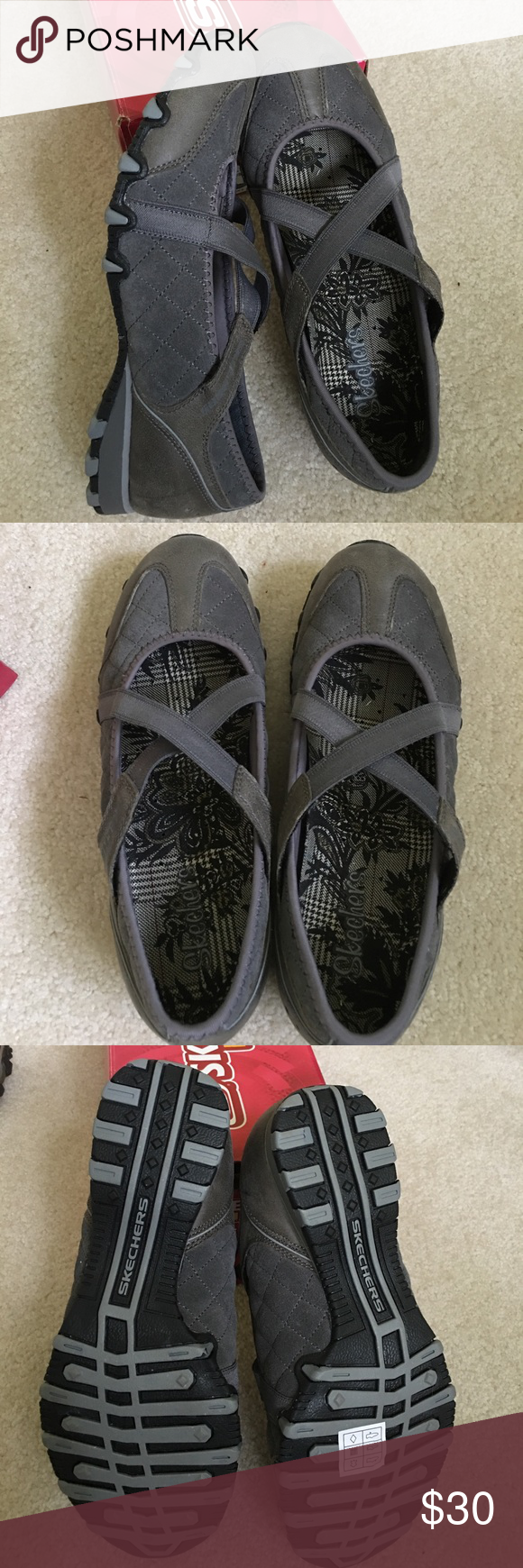 Skechers Bikers Applause Charcoal NIB sz 7.5 Brand new pair of Skechers Active Applause Mary Jane style flats. These are a charcoal gray color with elastic crisscross straps. The fabric is a quilted suede. NIB Skechers Shoes Flats & Loafers