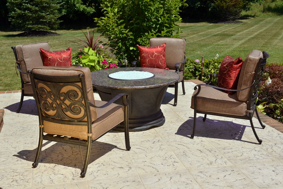 Herve 4 Person Luxury Cast Aluminum Patio Furniture Chat Set W/Firepit And  Stationary Chairs | Pretty Patios... | Pinterest | Chairs, Fire Pits And ...