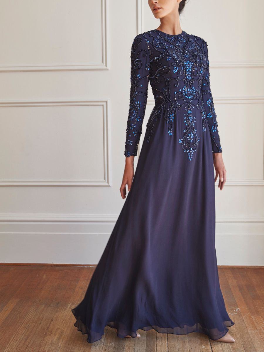 Our Limited Edition Crescent Gown Is A Simple Design Comprising Of An Intricate Mixture Of Embellishments The Fi In 2020 Modest Bridesmaid Dresses Gowns Luxury Bridal