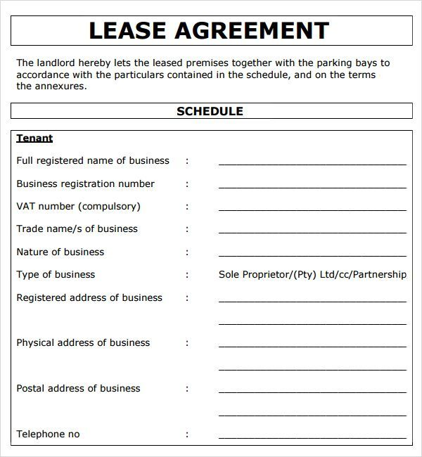 Project Lease Agreement Template Projectemplates Templates - sample commercial lease agreements