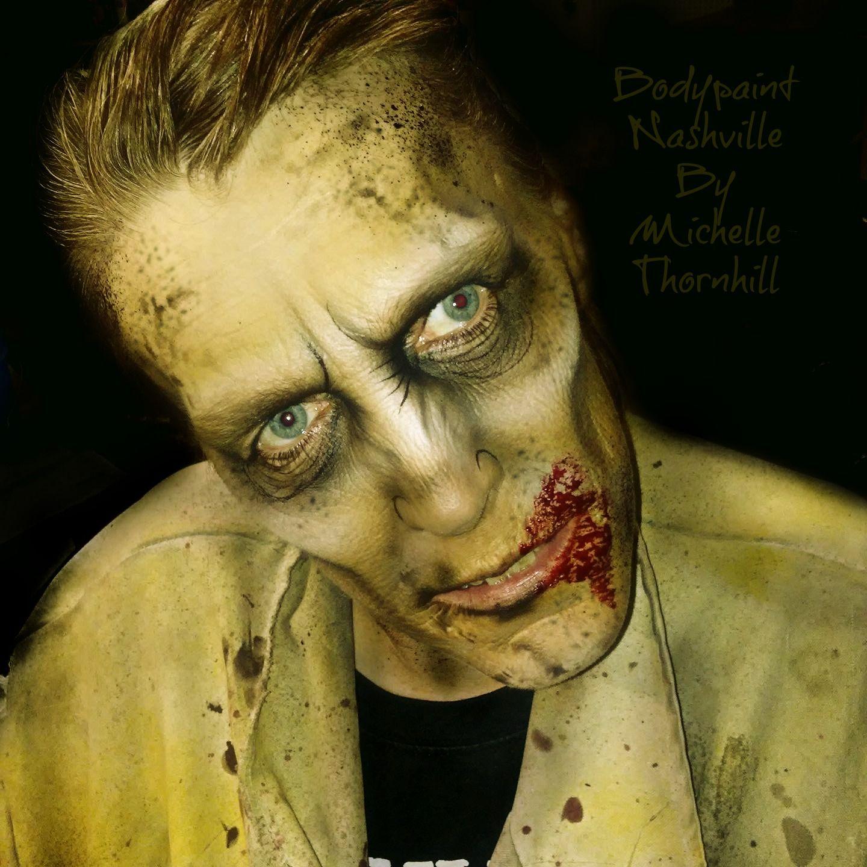 Zombie Halloween face paint makeup. Zombie face, Zombie