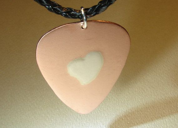 Copper Guitar Pick Pendant with Silver Heart in by NiciLaskin, $20.00