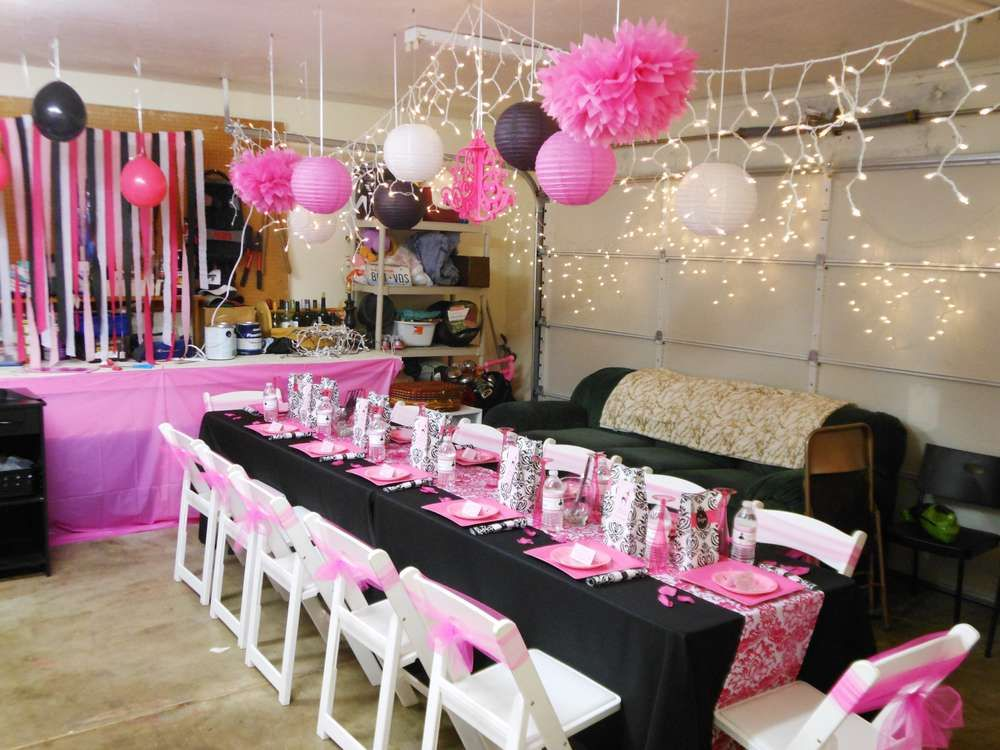 Parisian French Paris Pink Pink and black Birthday Party Ideas