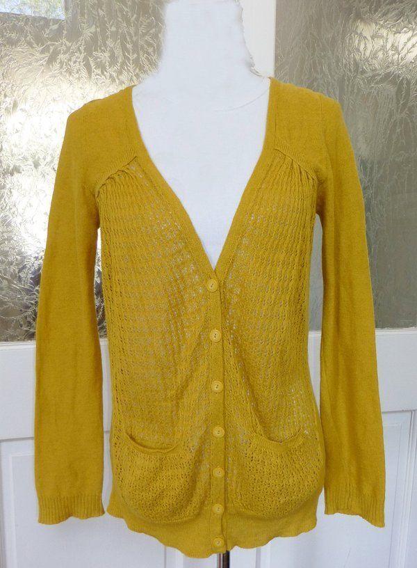 Sparrow Anthropologie Mustard Yellow Linen Cotton Cardigan Sweater ...