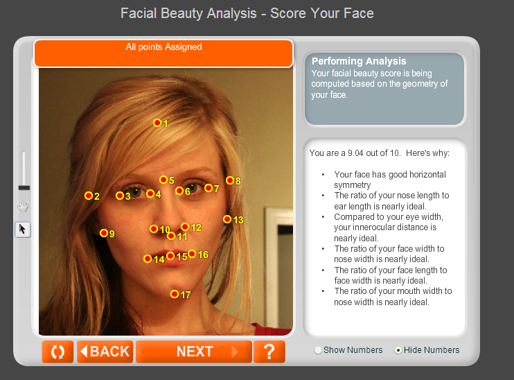 Facial golden ratio software