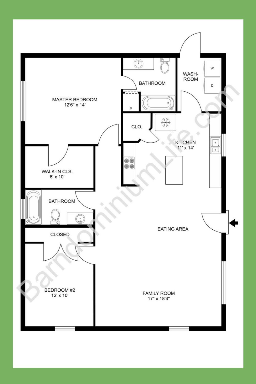 2 Bedroom Barndominium Floor Plans In 2020 Small House Floor Plans Barndominium Floor Plans Floor Plans