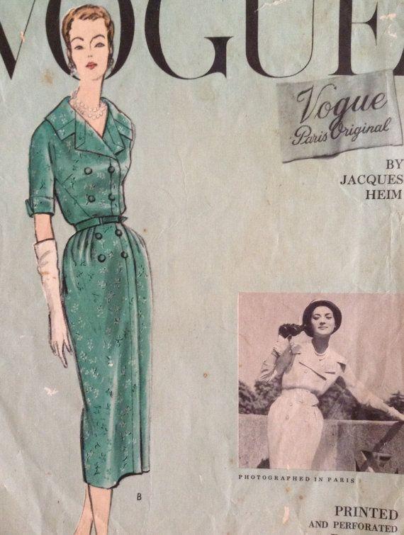 Vogue Paris Original 1381 by Jacques Heim | ca. 1957 one-piece dress ...