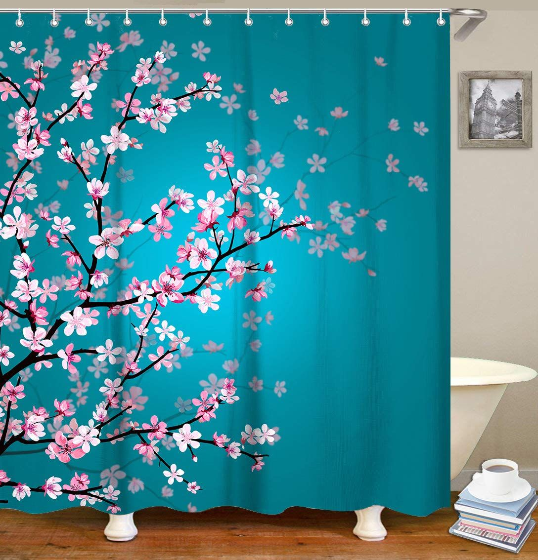 Livilan Floral Bathroom Curtain Set With 12 Hooks Cherry Blossom Shower Curtains Fabric Bath Curt With Images Bathroom Curtain Set Floral Bathroom Turquoise